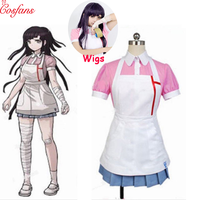 Dangan Ronpa 2 Mikan Tsumiki Danganronpa Dress Cosplay Costume Danganronpa Mikan Tsumiki Cosplay Shirt + Skirt + Apron And Wigs