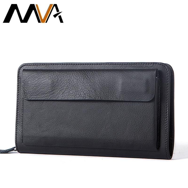 MVA Genuine Leather Wallets Phone Men's Leather Wallets Long Wallet Clutch Male Purse Money Clip Wallet Fashion Cash Carteira