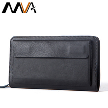 MVA Wallet Male Genuine Leather Wallets for Credit Card Phone Money Wallet Long Coin Purse Men Clutch Bag wristlet Carteira 9069
