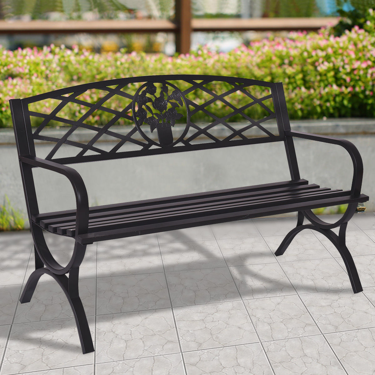 Giantex 50 Patio Garden Bench Metal Black Park Yard Outdoor Furniture Durable Steel Frame Porch Chair Seat OP3139 outdoor 2person canopy swing chair patio hammock seat yard porch furniture steel page 1