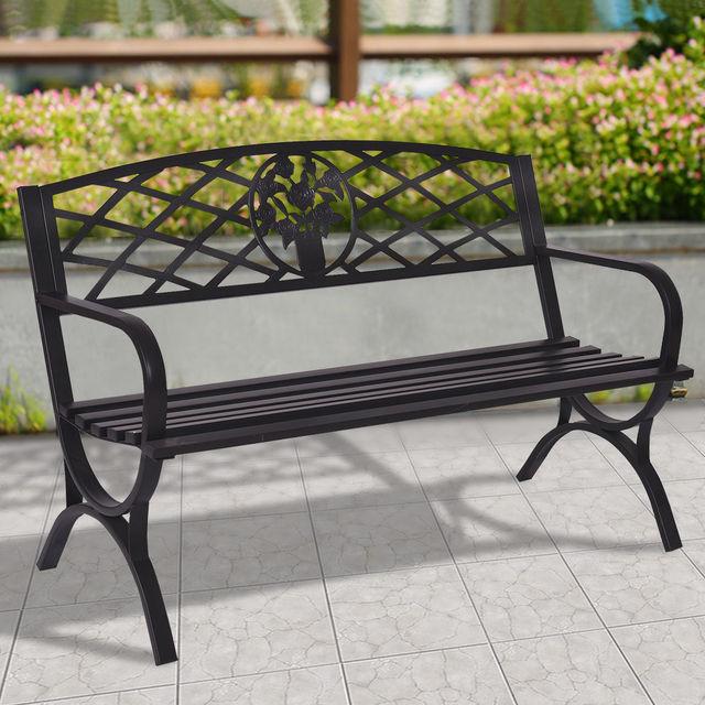 Giantex 50 Patio Garden Bench Metal Black Park Yard Outdoor Furniture Durable Steel Frame Porch Chair Seat Op3139