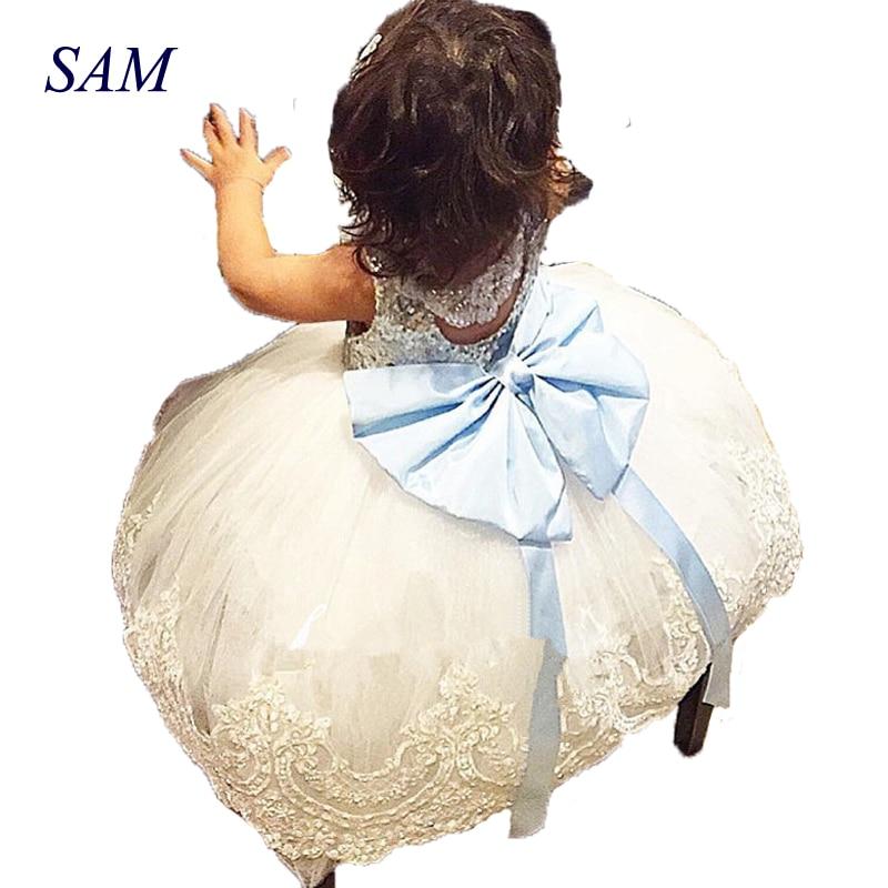 2018 Summer Kids Girls Sleeveless Princess Dresses Blue V Butterfly Knit Dress Baby Girl's Performance Clothing Party Wedding