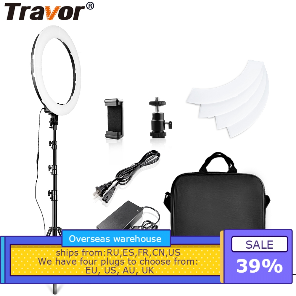 Travor LED Ring Light 18 Inch Ring Lamp Photo light ring With Tripod Phone holder for
