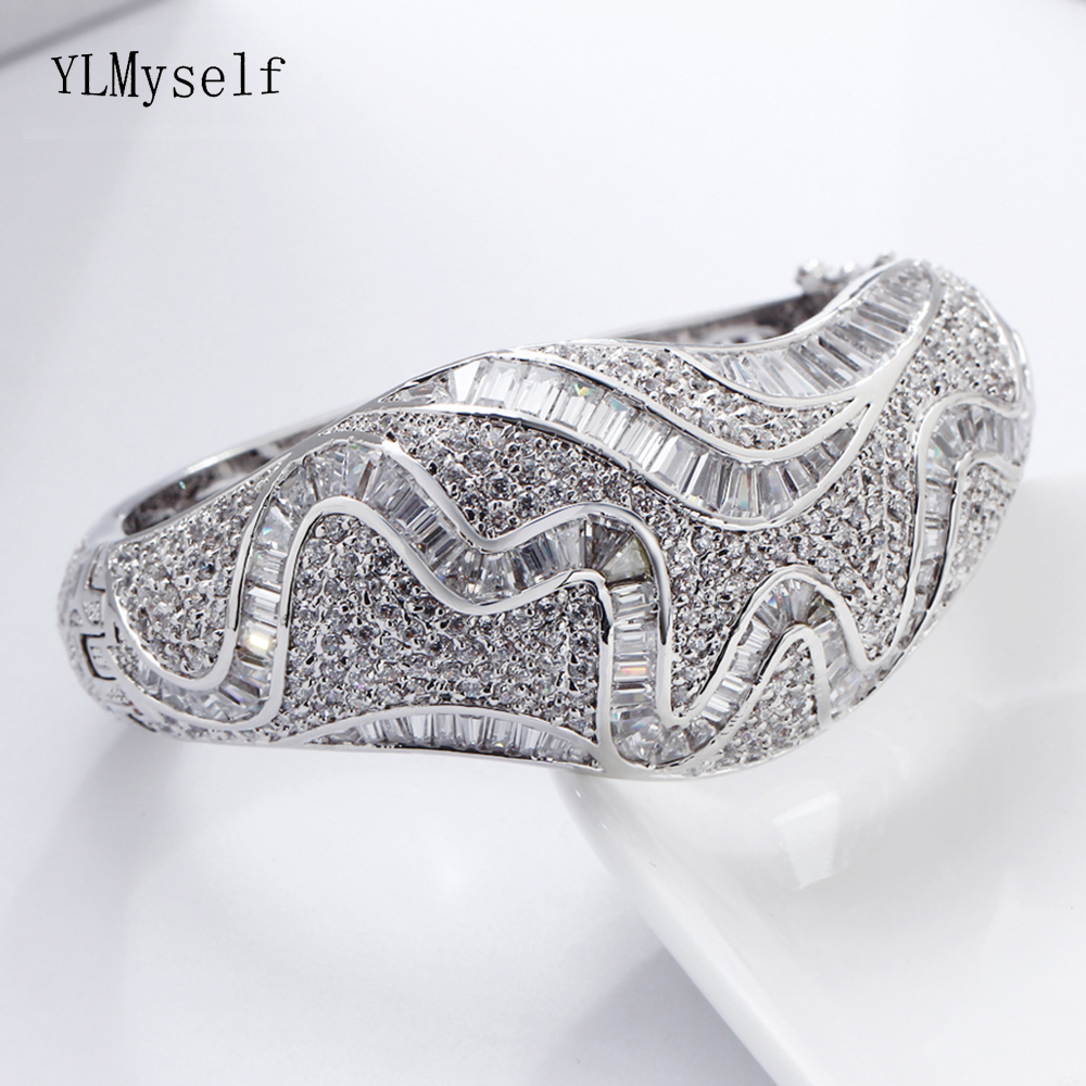 Expensive Large bangle beautiful CZ jewelry for wedding party jewellery shiny crystal Big Bracelet & bangles for bridalExpensive Large bangle beautiful CZ jewelry for wedding party jewellery shiny crystal Big Bracelet & bangles for bridal