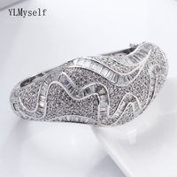 Expensive Large bangle beautiful CZ jewelry for wedding party jewellery shiny crystal Big Bracelet & bangles for bridal