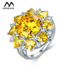 MDEAN White Gold Color Wedding Engagement Rings for Women Yellow AAA Zircon Jewelry Fashion Bague Bijoux Size 6 7 8 9 H011