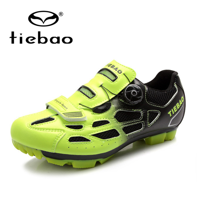 ФОТО NEW Tiebao MTB Cycling Shoes Mountain Biking Shoes Professional Bicycle Lock Rotating Buckle Fast With Sneakers Outdoor Sport
