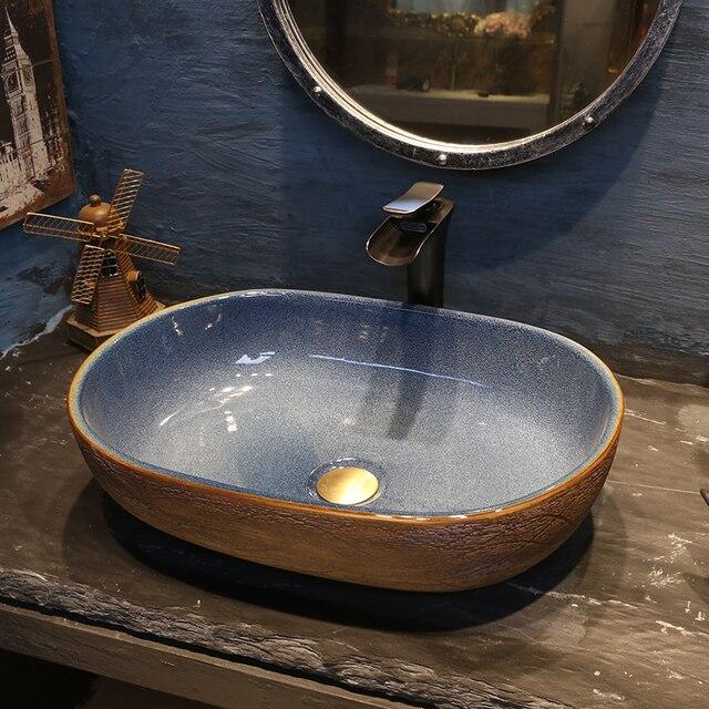 Neuen Chinesischen Stil Vergrößerte Plattform Becken Keramik