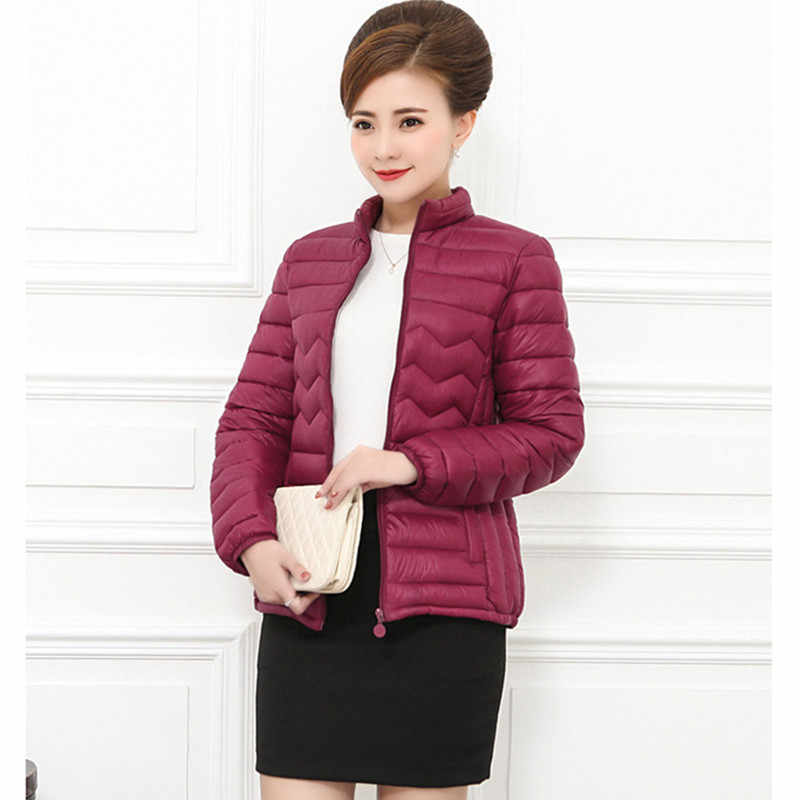 2019 Winter Women's Jacket plus Size 6XL Middle-aged Down Cotton Jacket Long sleeve Slim Short Warm Cotton Jacket Parkas Female