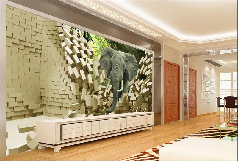 3d room mural wallpaper elephant broken wall photo custom for Broken wall mural