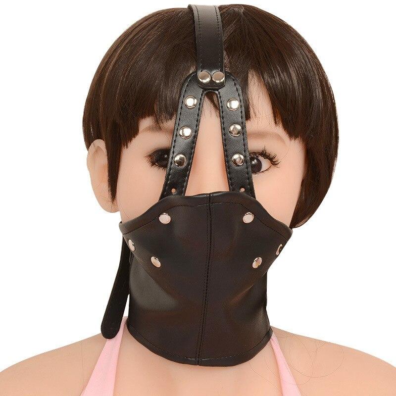 Chastity Locks Bdsm Mask Leather Bondage Restraints Body Hood Harness Mouth Gag Sexy Bondage Gear Slave Fetish Erotic Men keyed цена