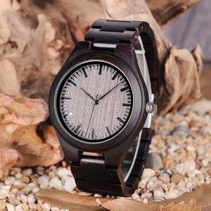 Image 3 - בובו ציפור רטרו אבוני עץ שעונים גברים באיכות גבוהה מותג מעצב זוגות שעון L O08