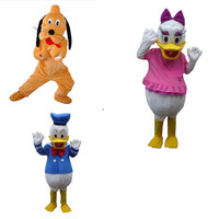 Donald Duck and Daisy Mascot Costumes Pluto And Goofy Mascot Fancy Dress Performance Prop Outfit Adult Size