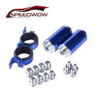 SPEEDWOW Aluminum Fuel Inline Petrol Filters Kit 2pcs Fuel Inline Filters+Double Fuel Pump Bracket+AN6/AN8/AN10 Fittings Adapter