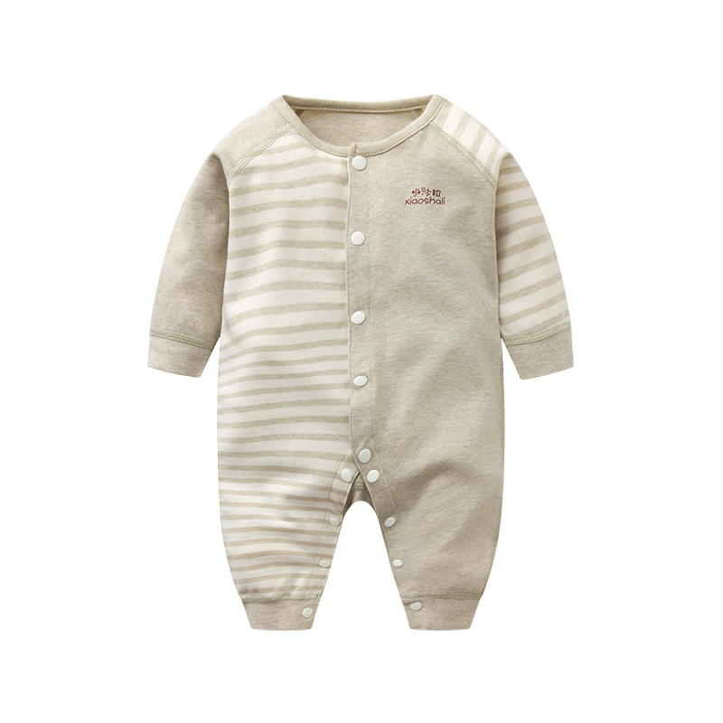 Baby Girls Boys 2018 New Spring Stripe Brown Solid Color O-neck Rompers Jumpsuit One Piece Clothes Children Casual Cloth 4rr198 baby rompers o neck 100