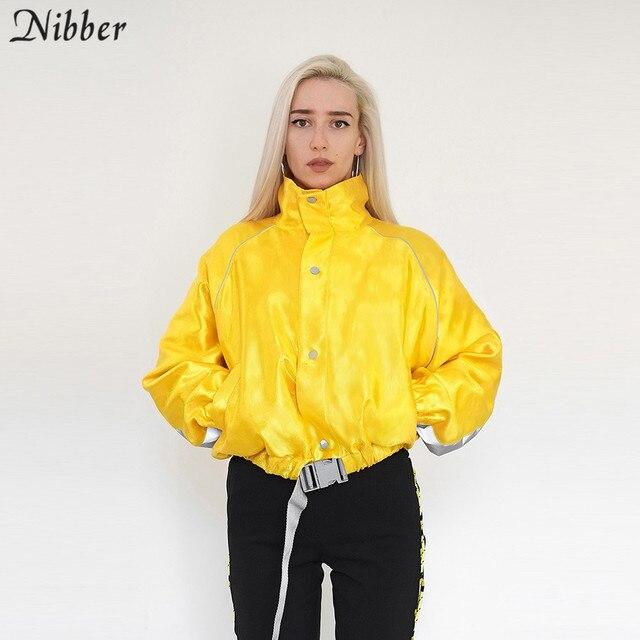 Nibber frauen frühling Herbst reflektierende warme mäntel trend gelb jacke 2019 fashion stitching lose version jacke damen tops