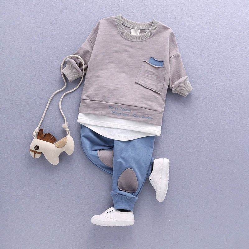 Boys 2pcs Suit Baby Boys Shirt Two False Pieces Cotton Patch Clothing Sets Long Sleeves O-Neck Pocket Fashion Shirts and Pants