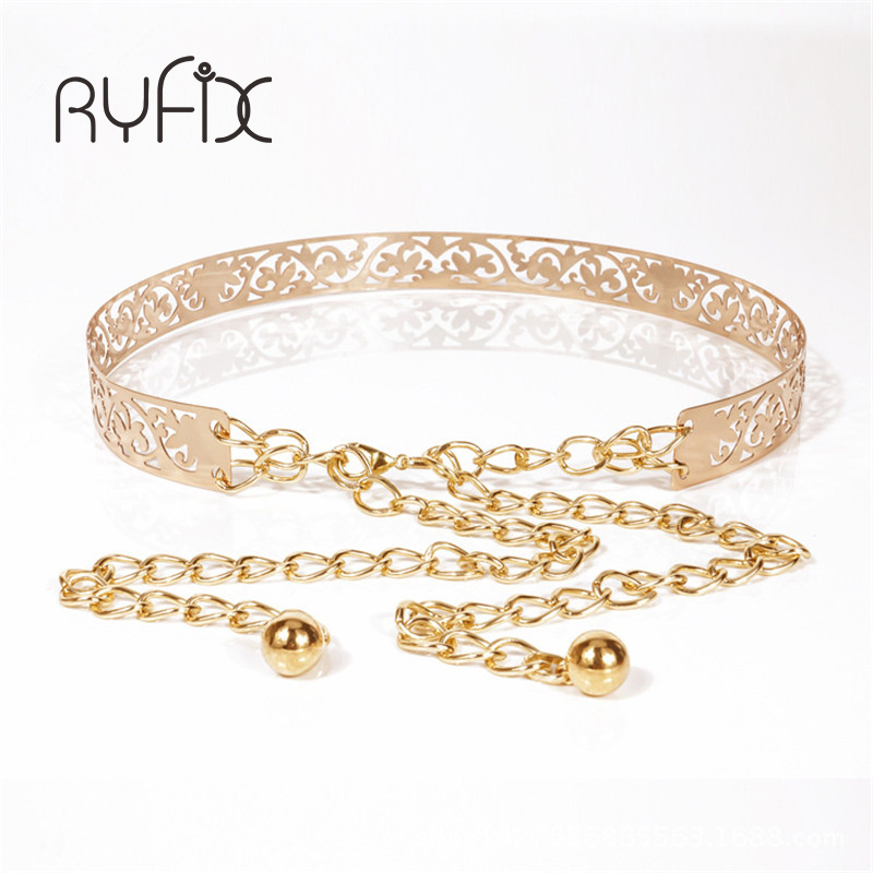2019 New Female Full Metal Mirror Thin Waist Belt Women Metallic Gold Plate With Chains Lady Punk Rocky Waistband For Women BL26