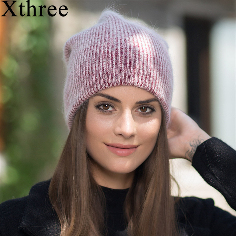 Xthree 2017 new simple Rabbit fur Beanie Hat