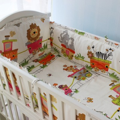 Promotion! 6pcs Lion Baby Bedding Set for Girls Cotton Baby Bedding Set,include(bumpers+sheet+pillow cover)