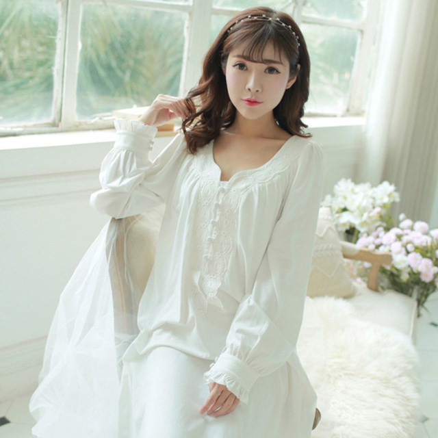fa416fbf9c7 Free Shipping Princess Pijama Sleepwear Pink And White Vintage Long  Nightgown Long-Sleeve Knitted Pure