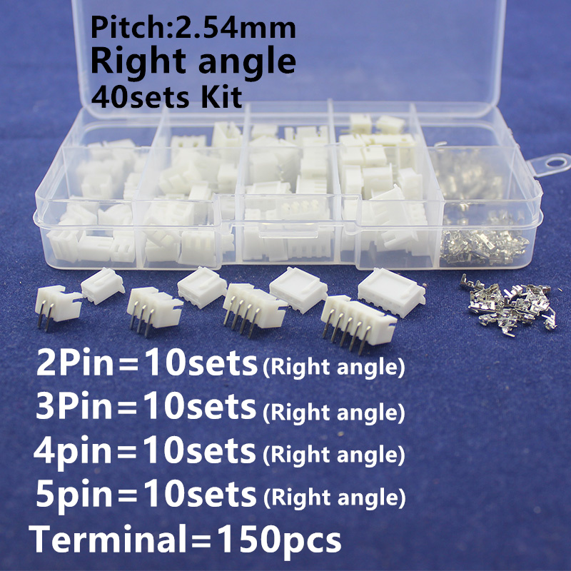 40 sets Kit in box 2p 3p 4p 5pin Right angle 2.54mm Pitch Terminal / Housing / Pin Header Connector  Adaptor XH Kits lllt hair therapy laser hat for hair regrowth hair helmet laser for anti hair loss solution