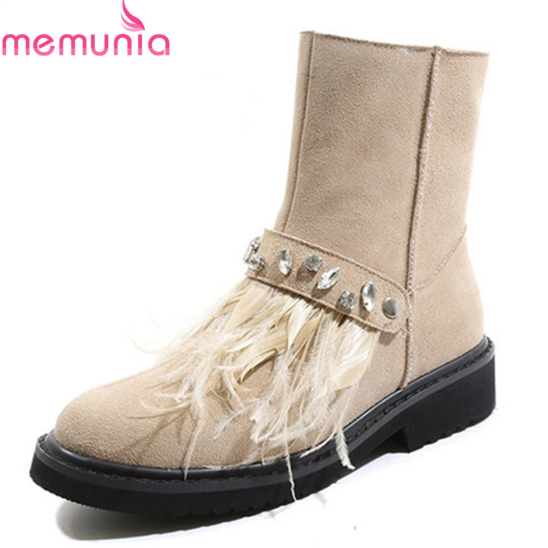 MEMUNIA 2020 top quality cow suede leather women boots round toe simple zip winter shoes fashion square heels ankle boots female