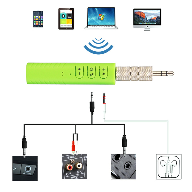 Car Kit Hands Free Music Audio Receiver for Speaker Bluetooth Auto Bluetooth AUX In 3.5mm Jack Adapter Auto Kit Laptop