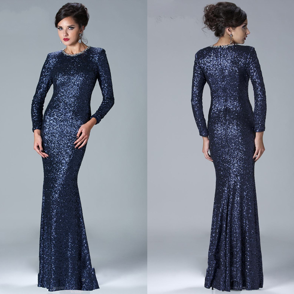 Vintage Sequin Dark Navy Blue Evening Dress Long Sleeve Women Formal ...