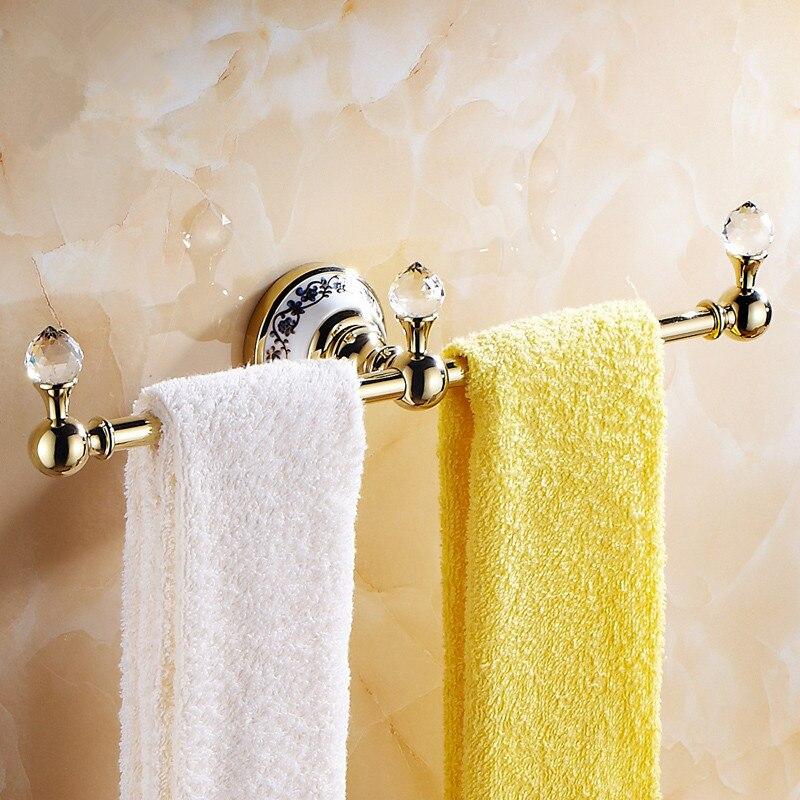 Ceramic Chrome Finish Towel Rack Bathroom Accessories Crystal Brass Towel Bar Crystal Polish