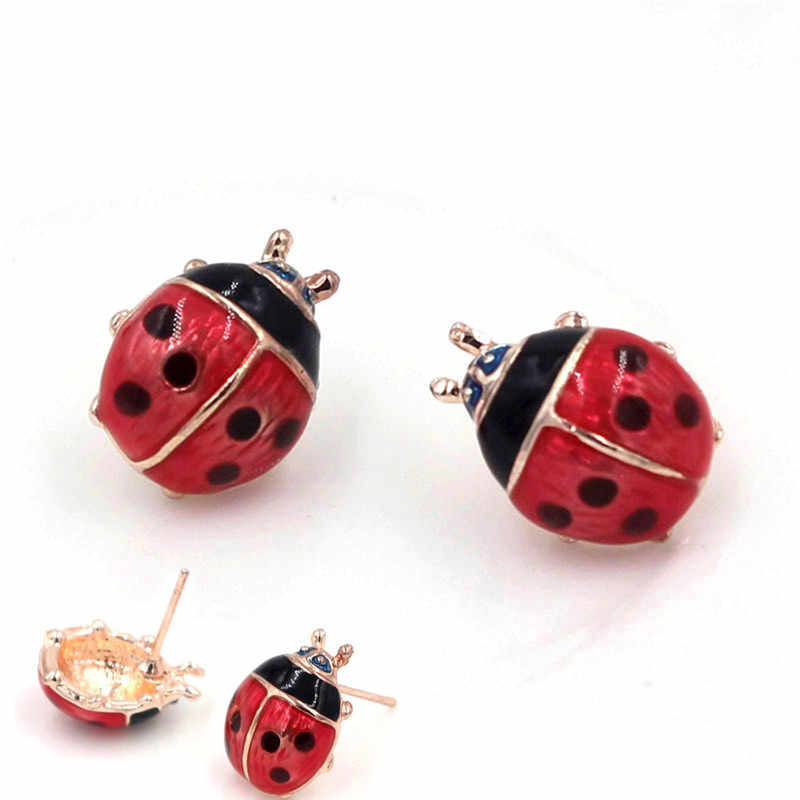 Fashion Cute Ladybug Insect Stud Earrings For Women Girls Kids  Small Jewelry Brincos Childrens Day Gifts
