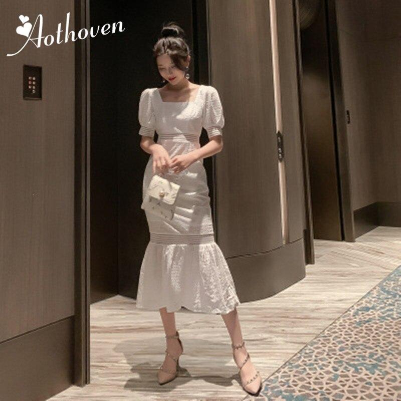 2019 été femmes mode robe de sirène blanc à manches courtes col carré robe élégante de haute qualité robes de soirée dame