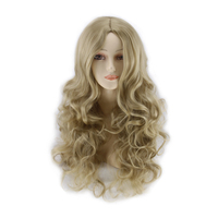 QQXCAIW Long Straight Anime Cosplay Women Party Blonde 68 Cm Synthetic Hair Wigs