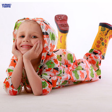 Kids Jumpsuit Children One-Piece Cartoon Naughty Kids Hooded Raincoat Suit Multi Colors