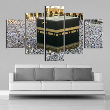 אסלאמי קיר אמנות מכה מסגד עלייה לרגל 5 חתיכות בד הדפסת נוף בד ציורי קיר הדפסי כרזות בית תפאורה מסגרת