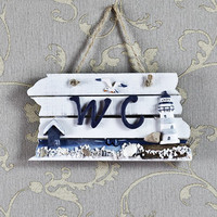 WC Wooden Toilet Sign Handmade Graceful House Bathroom European Style Mediterranean Style Listed For Bars Clubs