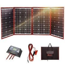 Dokio negro paneles solares 200 W (50 W x 4 Pc) 18 V China plegable + 12 V Controlador Solar de carga de la batería de la autocaravana de coche RV