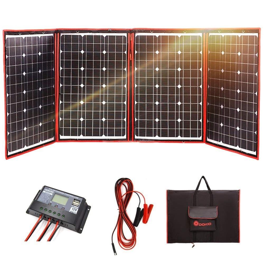 Dokio Noir Solaire Panneaux 200 w (50 w x 4 pc) 18 v seulement Chine Pliable + 12/24 v Volt Contrôleur Panneaux Solaire charge de la batterie camping-car