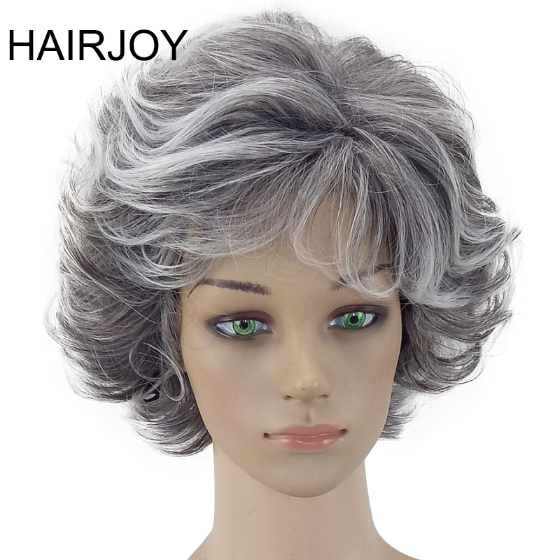 HAIRJOY Women Wig 2 Tones Grey White Ombre Synthetic Short Layered Curly Hair Puffy  Bangs Heat Resistant 7 Color Available