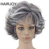 HAIRJOY Mulheres Peruca 2 Tons de Cinza Branco Ombre Cabelo Encaracolado Sintético Curto Em Camadas Puffy Bangs Resistente Ao Calor Frete Grátis