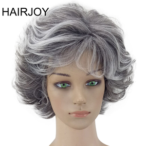 HAIRJOY Women Wig 2 Tones Grey White Ombre Synthetic Short Layered Curly Hair Puffy Bangs Heat Resistant 9 Color Available(China)