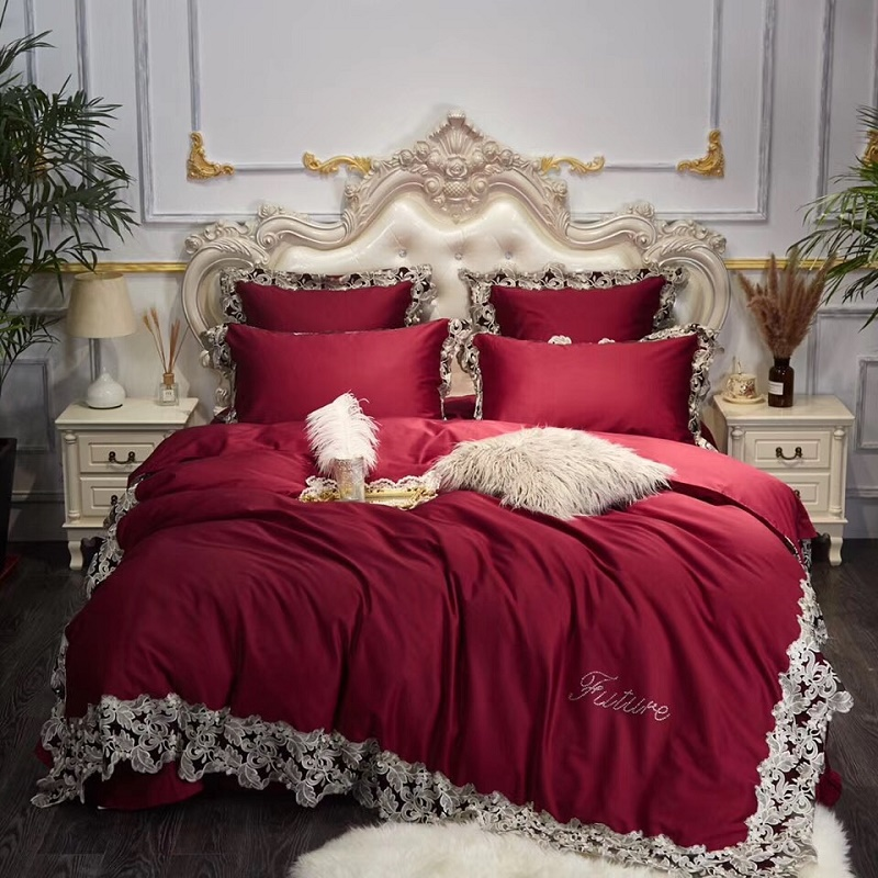 Luxury European Lace Design Red/Pink/Blue 60 Satin Egyptian Cotton Bedding Set Duvet Cover Bed sheet Pillowcases Queen King S