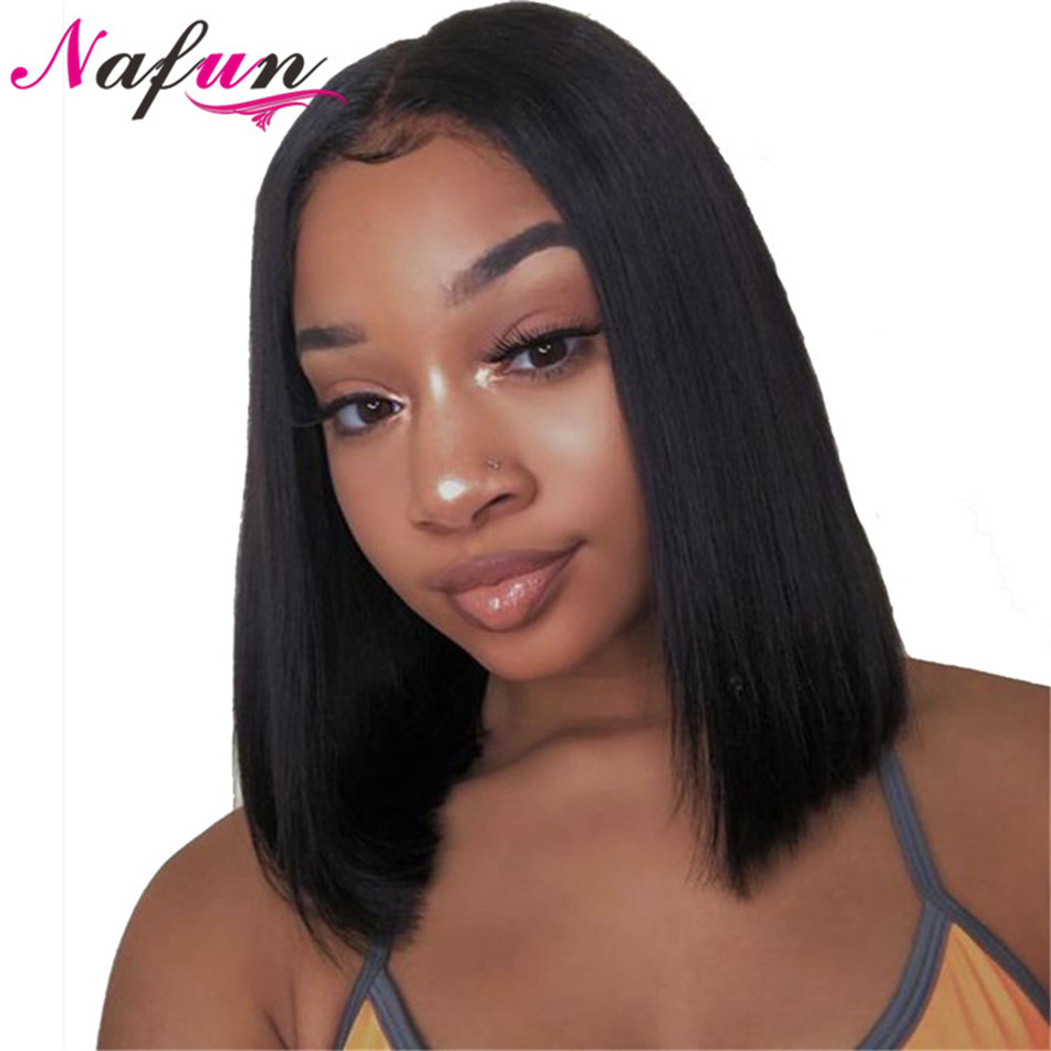 Nafun Lace Front Human Hair Wigs Peruvian Remy Hair Straight Bob Lace Front Wigs For Black