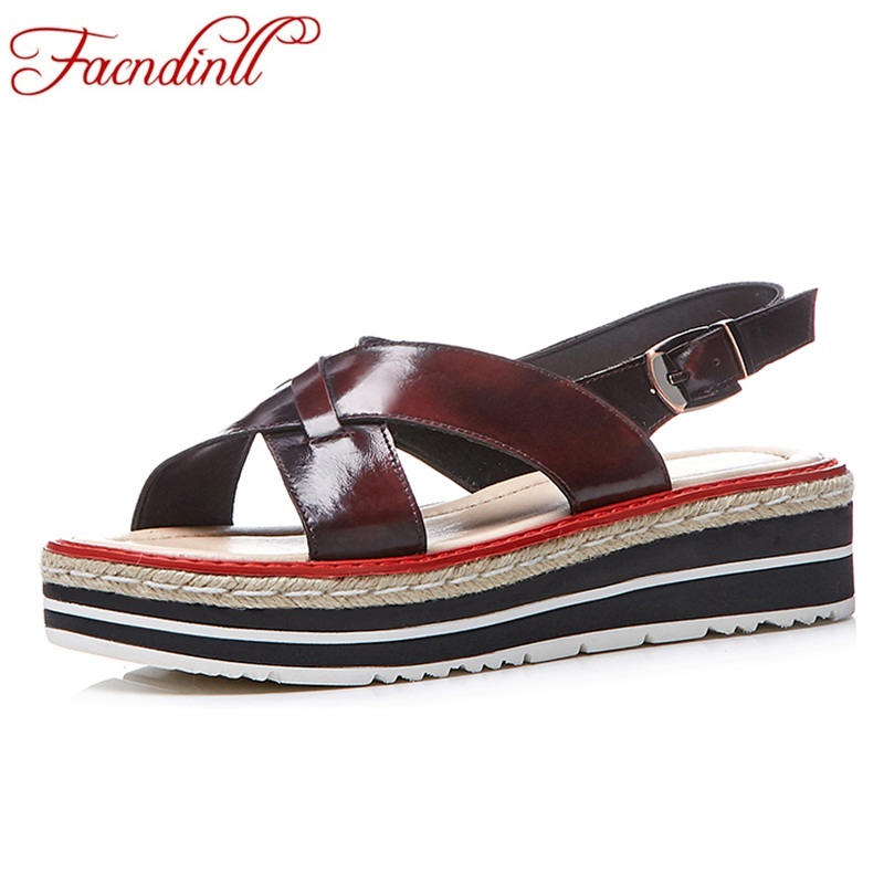 FACNDINLL women shoes summer sandals genuine leather wedges med heels casual shoes wine red yellow shoes woman dress party shoes facndinll summer shoes women sandals