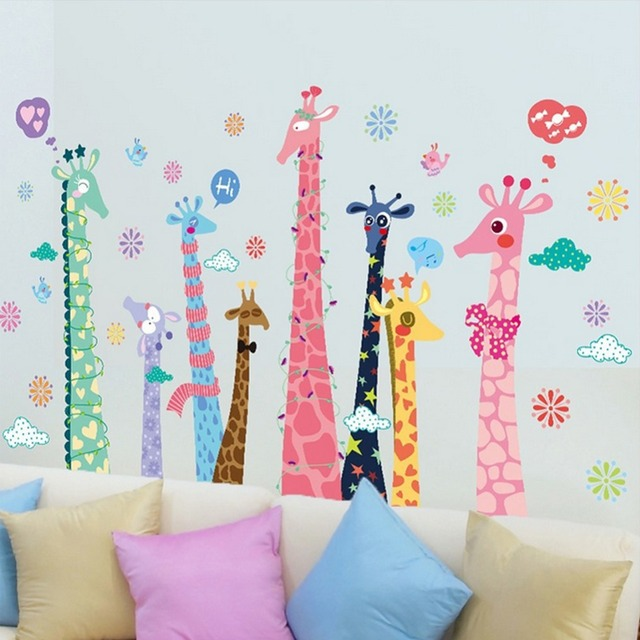 Giraffes Birds English Letters Wall Decal Home Sticker Paper Removable Art Picture Mural Kids Nursery Baby