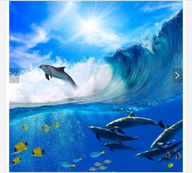 Купить с кэшбэком Custom photo wallpaper 3d ceiling wallpaper murals waves of sea dolphins and blue sky white clouds frescoes 3d room wallpaper