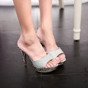 Image 5 - 2019 Summer Women Slippers PVC Crystal High Thin Heels 11.5CM Mules Platform Outside Ladies Slippers Sexy Women Shoes Sandals