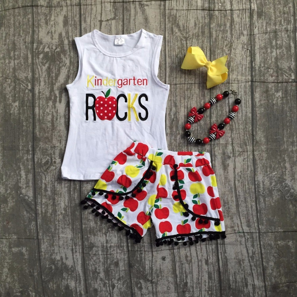 kids girls boutique clothing baby girls kindergarten rocks school outfits girls top with apple shorts clothes with accessoreis lettuce edge bardot crop top with shorts