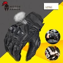 Furygan AFS6 Guantes de Moto de Carreras de Verano Transpirable de Cuero Guantes de Fibra de Carbono de Protección Knukle Negro y Blanco para Los Hombres