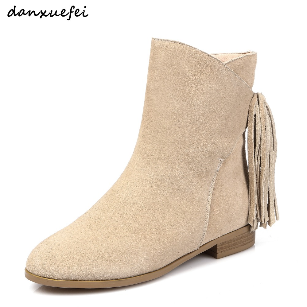 Plus size 33-43 women's genuine suede leather ankle boots fringe slip-on flats autumn boots leisure fashion short booties shoes